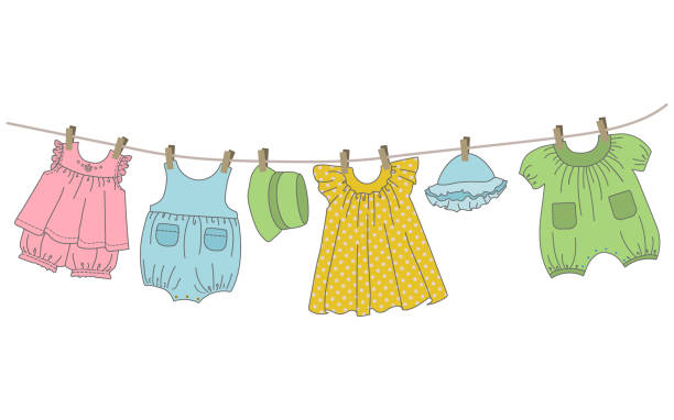 Baby clothing hang on the clothesline Baby clothing hang on the clothesline. Things are dried on clothespins after washing. Vector illustration. baby clothing stock illustrations