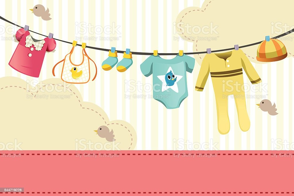 Baby clothings vector art illustration