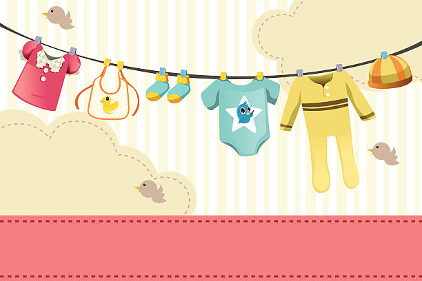Baby clothings A vector illustration of baby clothings on clothespin baby clothing stock illustrations