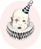 Baby clown in the stripy hat