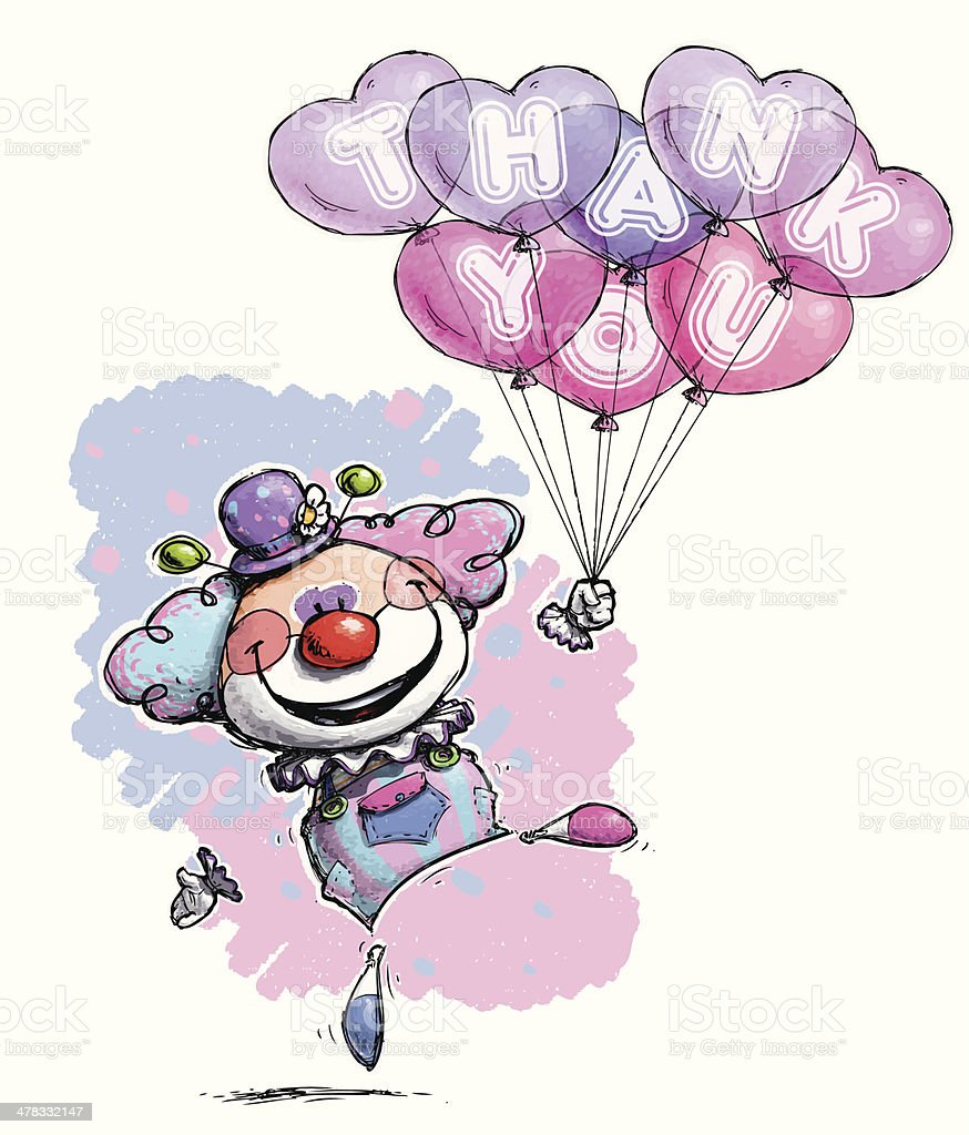 Baby Colored Clown with Heart Balloons Saying 'Thank You' royalty-free stock vector art