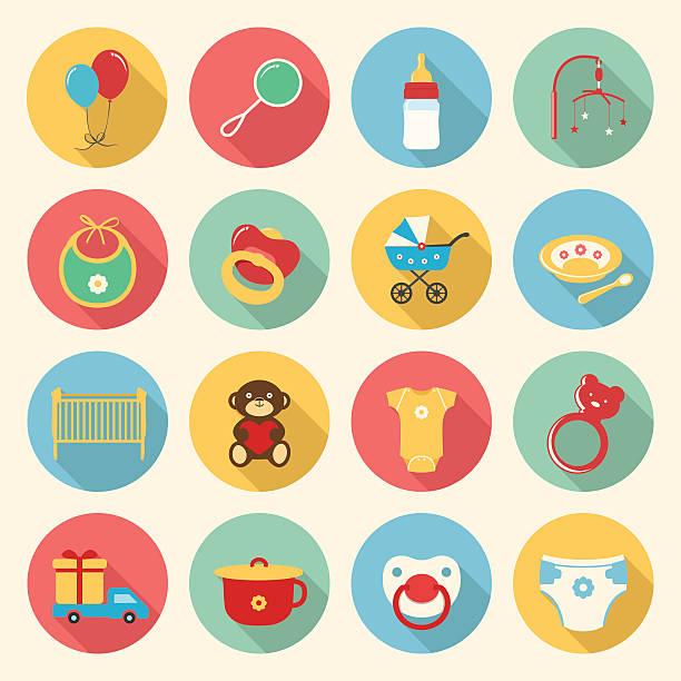 baby bunte flache design-ikonen-set - kindergesichtsfarben stock-grafiken, -clipart, -cartoons und -symbole