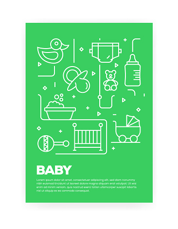Baby Concept Line Style Cover Design for Annual Report, Flyer, Brochure.