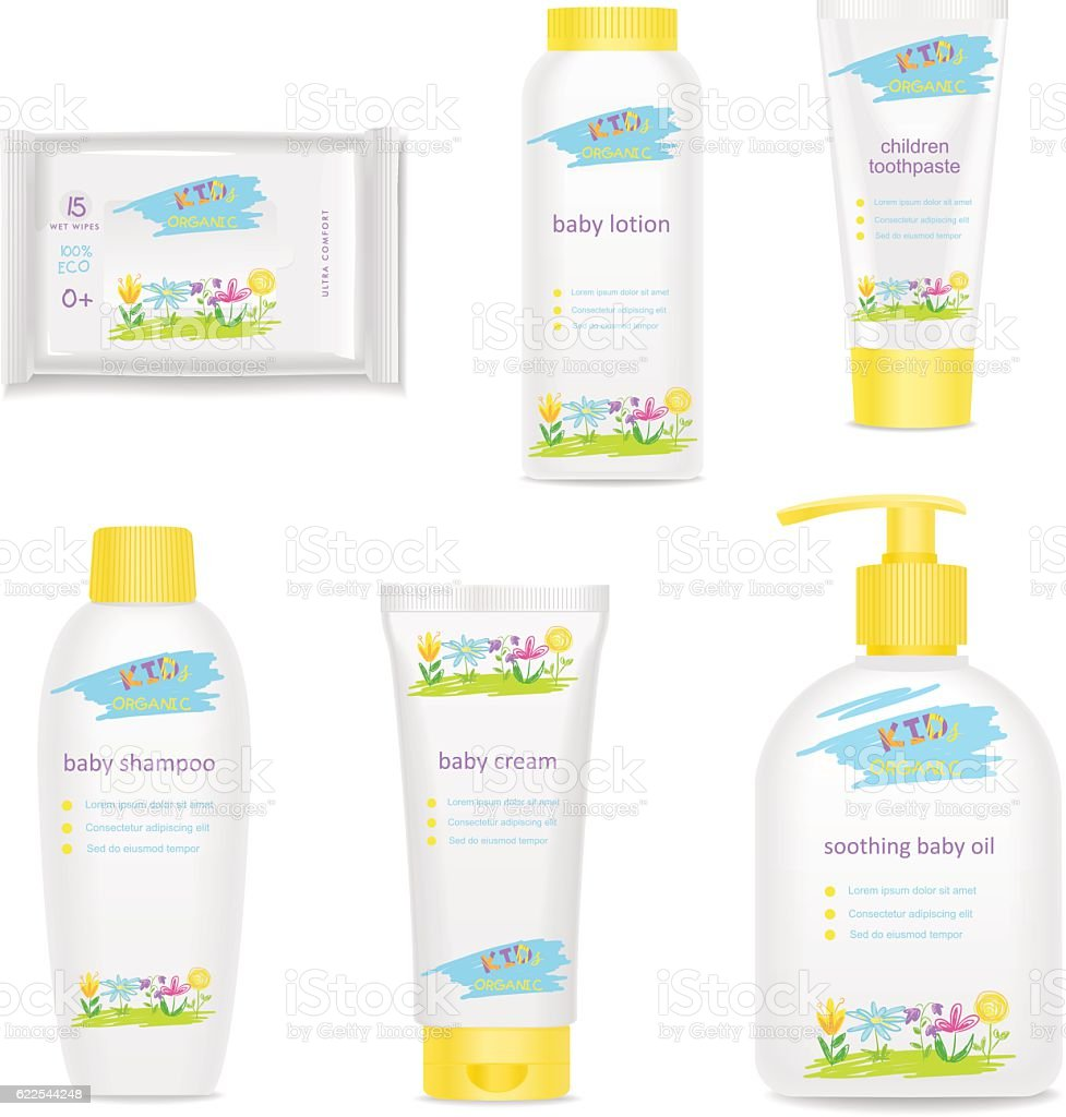 Baby cosmetic tubes with colorful kids design. Vector vector art illustration