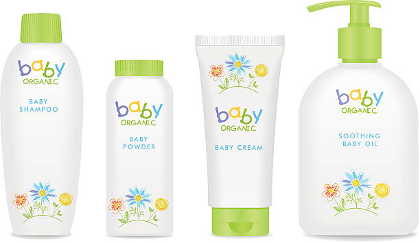 baby kosmetische röhren mit kinder-design. vektorgrafik - shampoos stock-grafiken, -clipart, -cartoons und -symbole