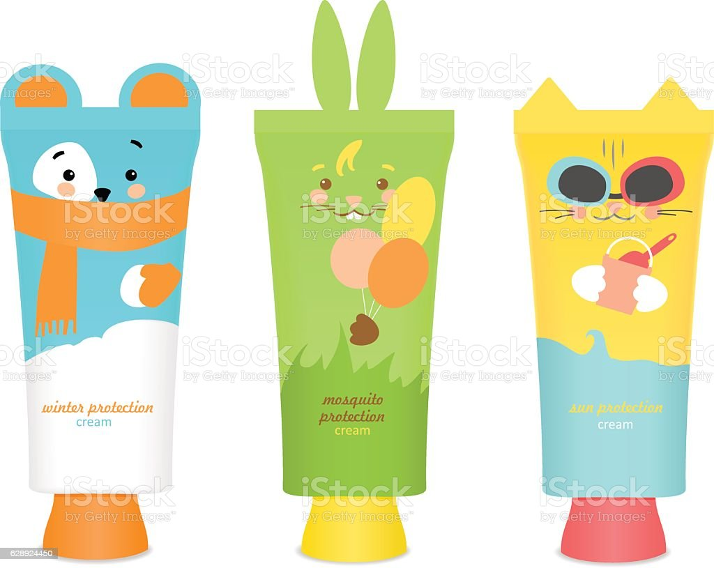 Baby cosmetic tubes with kids design. Vector vector art illustration