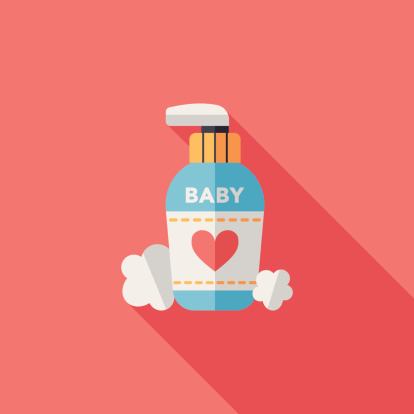 Baby Cosmetics Flat Icon With Long Shadoweps10 Stock Illustration - Download Image Now