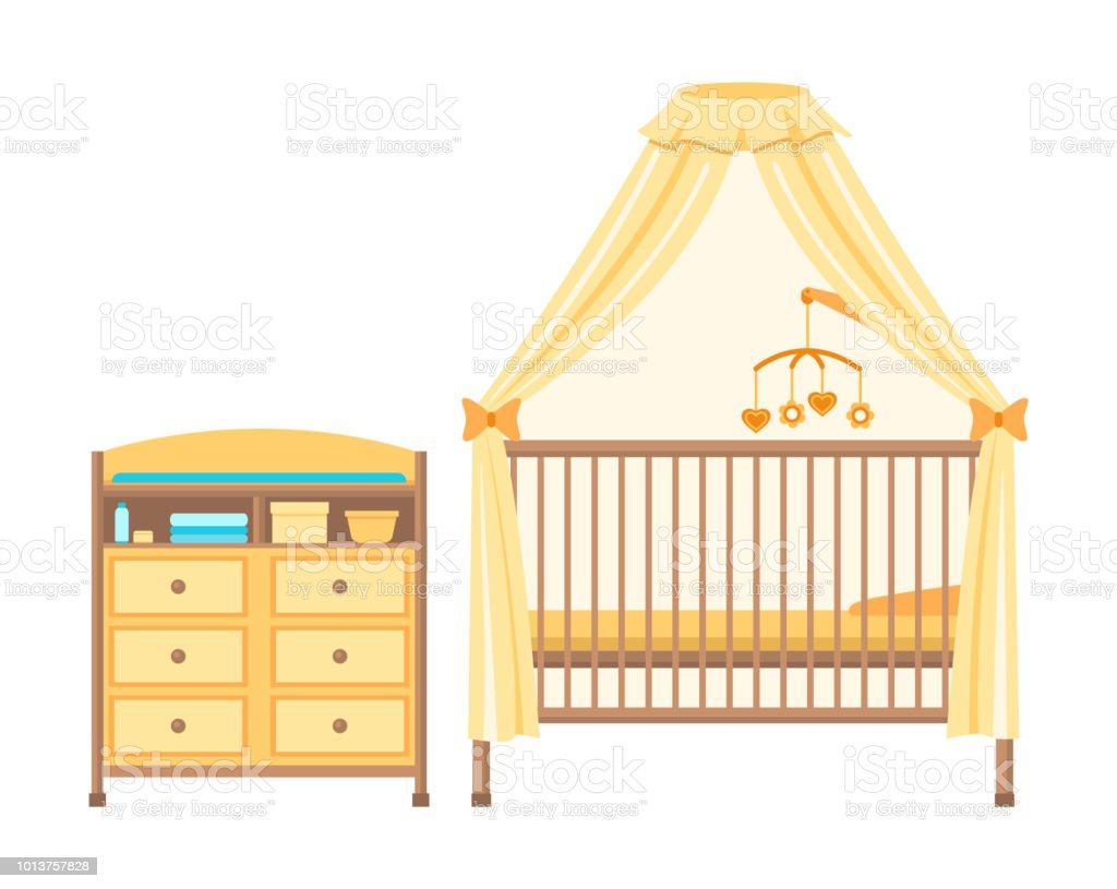 5532b866679b Baby cot and changing table. Isolated on white background. Vector  illustration. royalty-