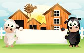 Fully editable vector illustration of a baby cow and bull holding a blank banner ready for you to input text of your choice.