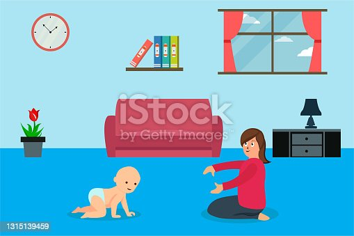 istock Baby crawling to his or her mother vector concept 1315139459
