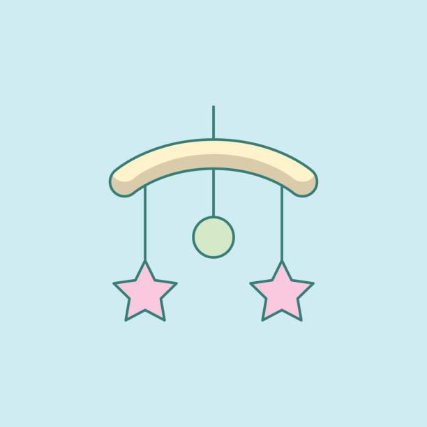 ilustrações, clipart, desenhos animados e ícones de berço de bebê pendurado brinquedos ícone quadrado liso - mobile
