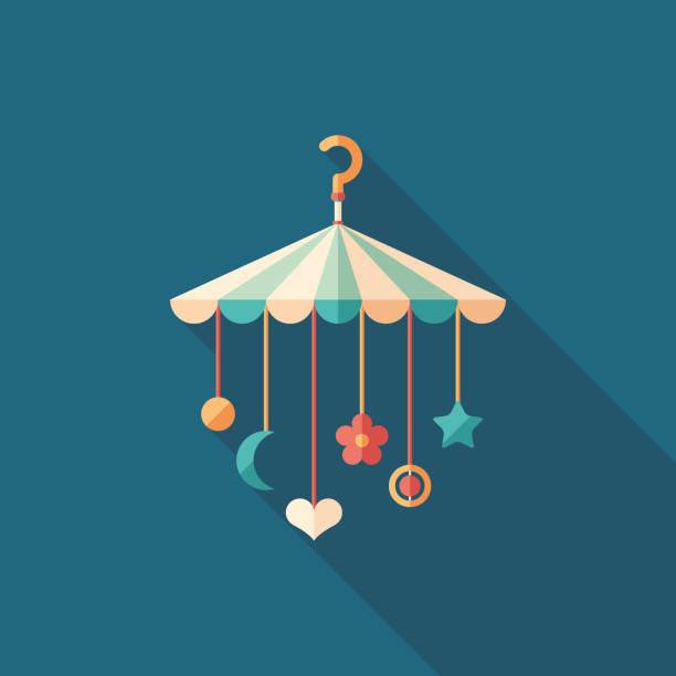 ilustrações, clipart, desenhos animados e ícones de brinquedos do bebê berço enforcamento liso ícone quadrado com longas sombras. - mobile