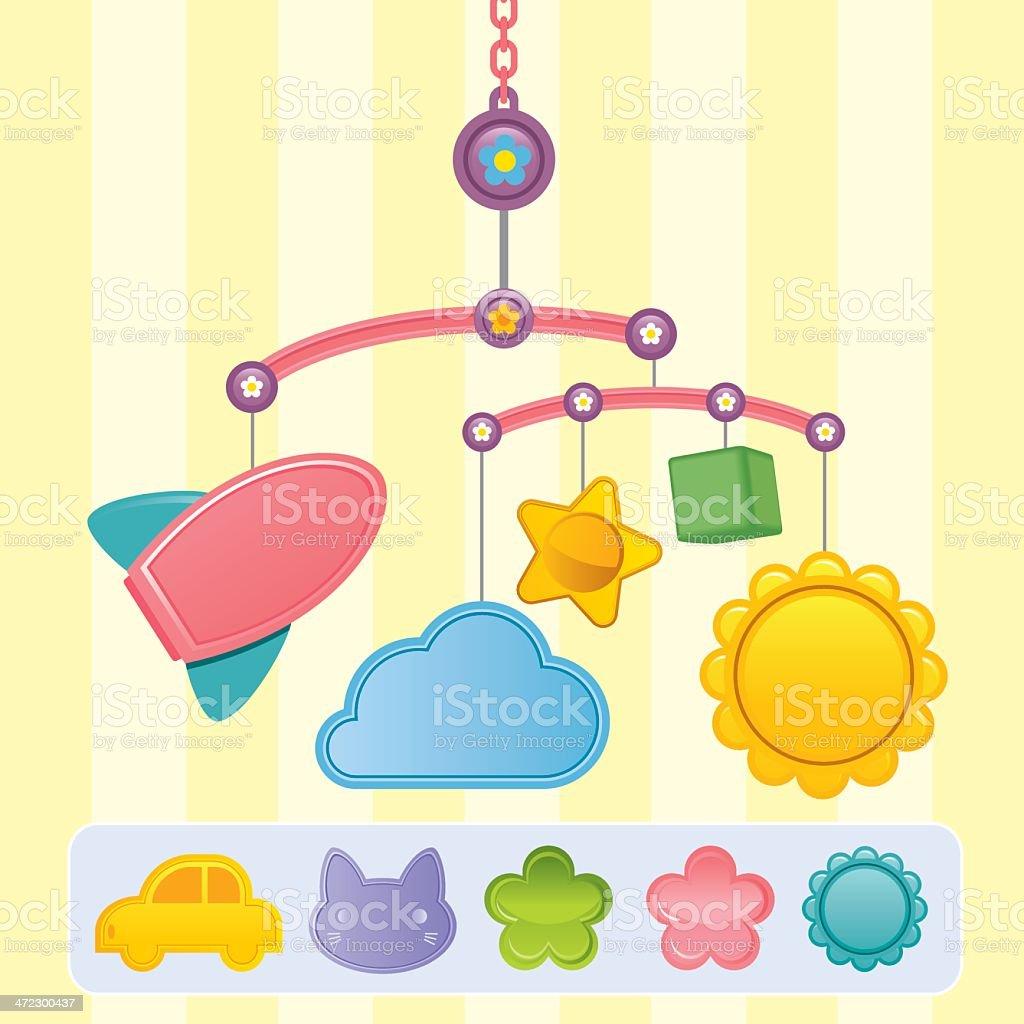 Baby Crib Mobile vector art illustration