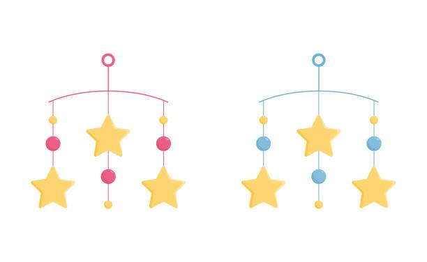 ilustrações, clipart, desenhos animados e ícones de berço móvel com estrelas amarelas para cama ou carrinho de bebê. - mobile