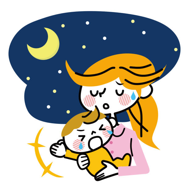 夜に泣いている赤ちゃん。 - 泣く点のイラスト素材/クリップアート素材/マンガ素材/アイコン素材