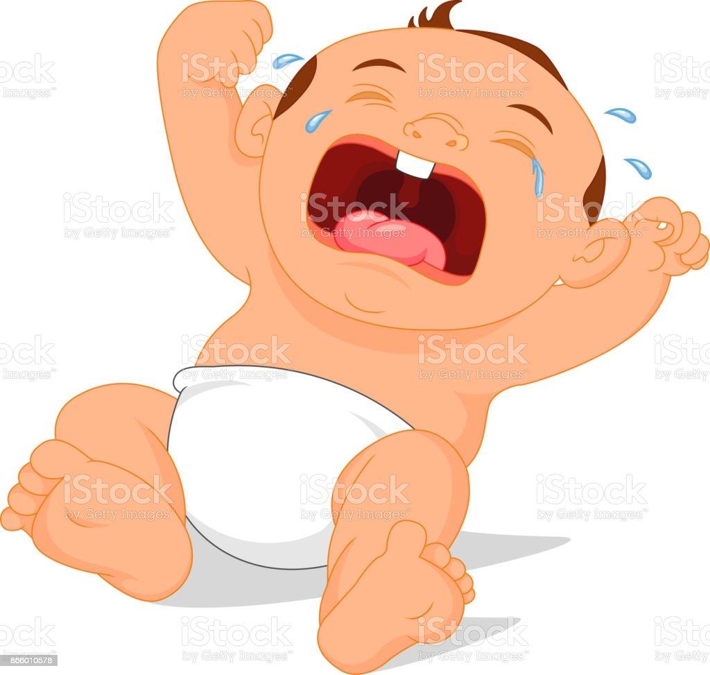 baby crying cartoon vector art illustration