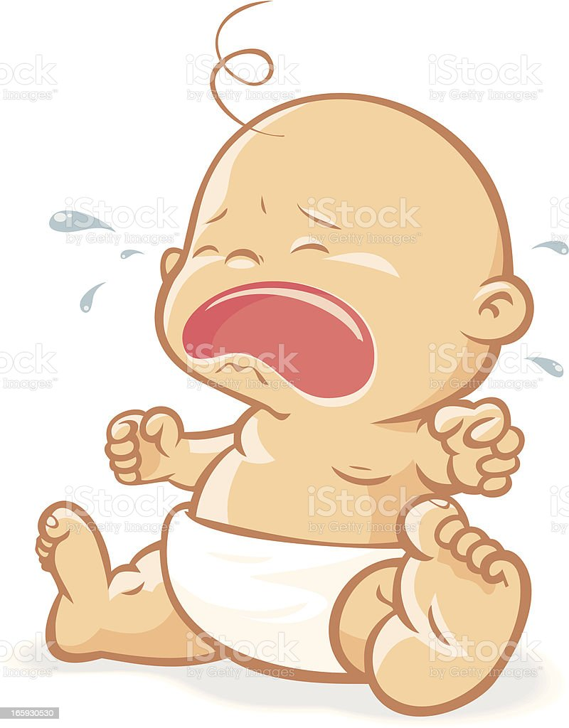 Baby crying vector art illustration