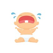 Baby crying vector isolated illustration