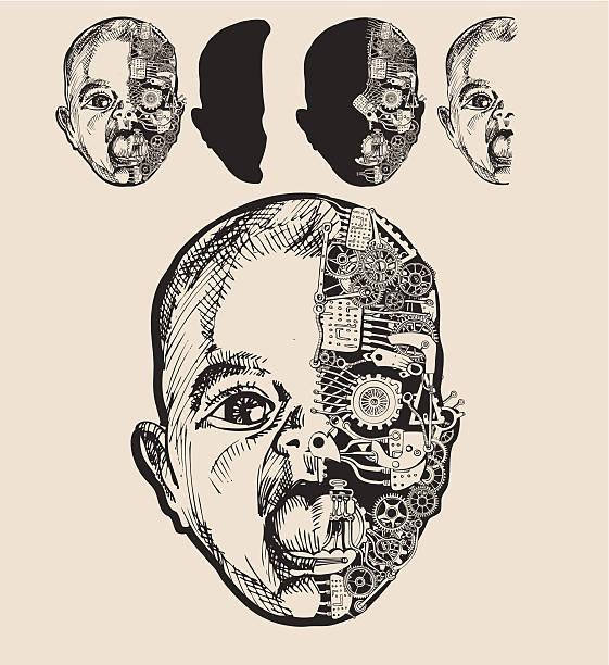 Baby cyborg. vector art illustration