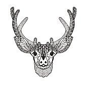 Baby deer. Sketch for avatar, posters, prints or t-shirt. Ethnic patterned vector illustration. African, indian, totem, tatoo design.