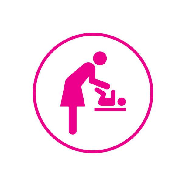 baby, windel, mutter, baby-windel-umkleidekabine - wickeltisch stock-grafiken, -clipart, -cartoons und -symbole