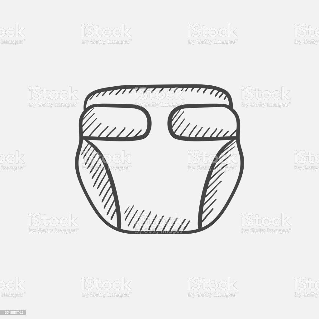 Baby diaper sketch icon vector art illustration