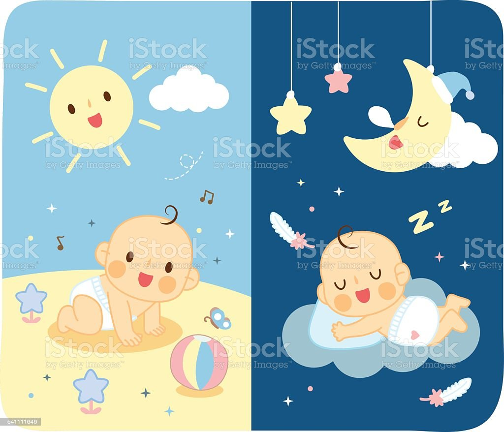 Baby diapers Day and Night vector art illustration