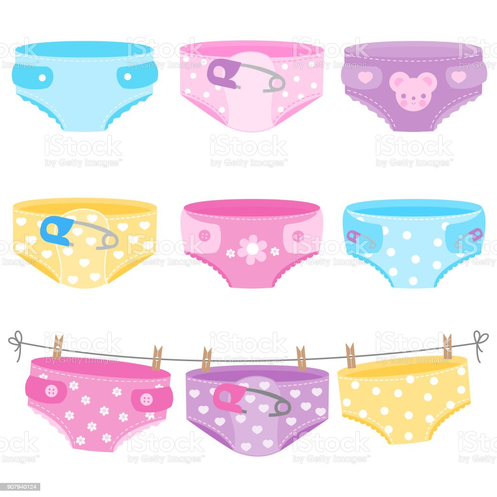 Baby diapers in blue, yellow, purple and pink colors. Vector collection vector art illustration
