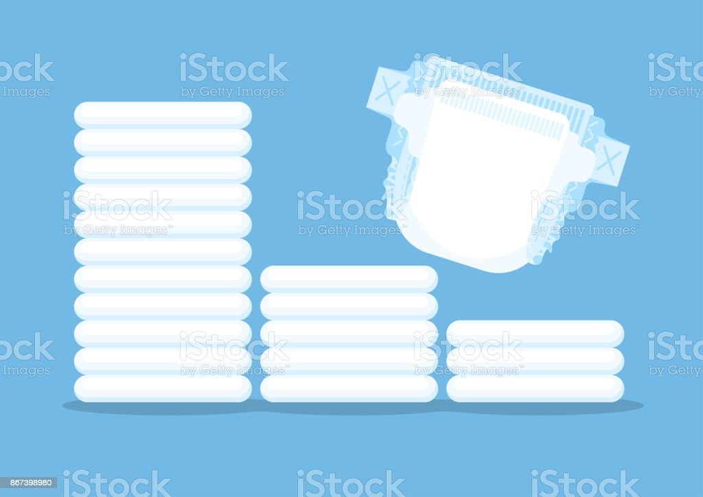 Baby diapers vector art illustration