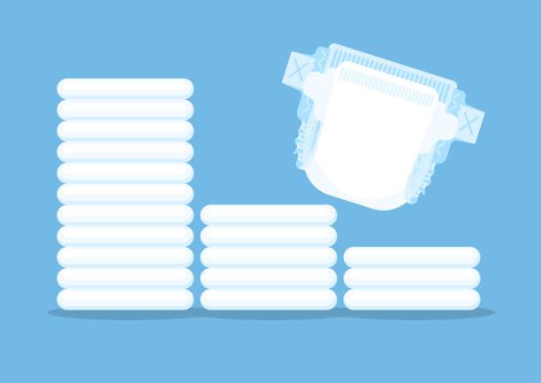 Baby diapers vector art illustration