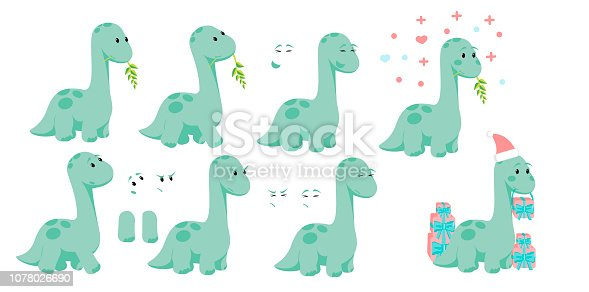 Baby dino diplodocus character design set with emotions and movement with Christmas and Valentines or love concepts for site, info graphic, video, animation, websites, e-mails, newsletter, promo