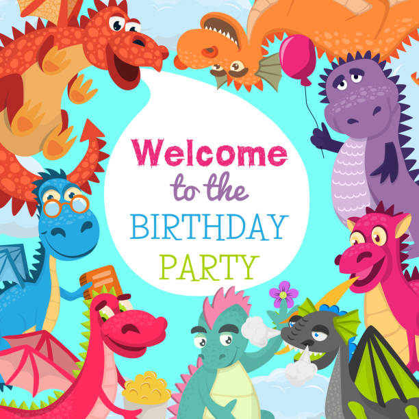 8e0e18f0c Baby dragons pattern vector illustration for invitation cards. Cartoon  funny dragons with wings. Fairy