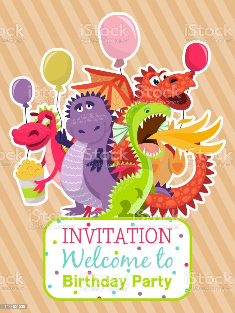 Ilustración De Cartel De Dragón Bebé Ilustración Vector