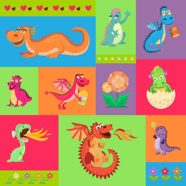 69fea4e5d Baby dragons psattern vector illustration. Cartoon funny little sitting and  flying dragons with wings.