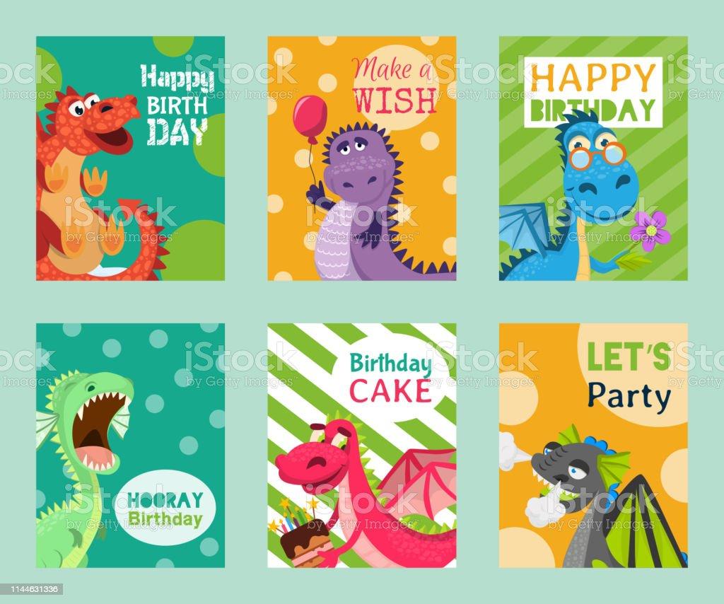 Ilustración De Baby Dragons Conjunto De Tarjetas De