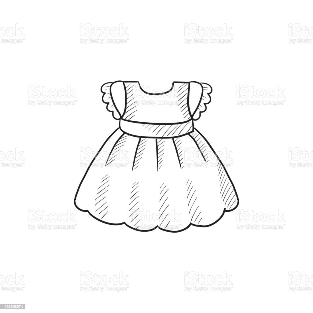 d6ccf62e8 Baby Dress Sketch Icon Stock Vector Art   More Images of Cartoon ...
