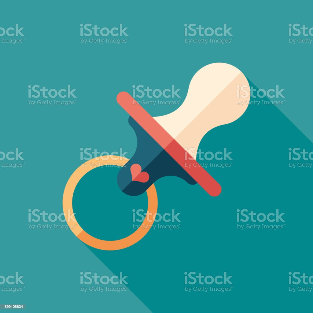 Baby dummy flat square icon with long shadows. vector art illustration
