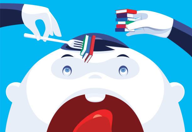 stockillustraties, clipart, cartoons en iconen met baby die boeken eet - alleen één jongensbaby