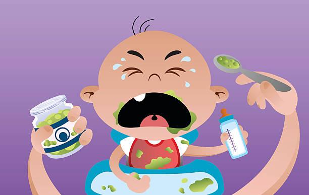Baby Eats vector art illustration