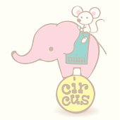 Baby elephant and mouse trainer in a Mini circus