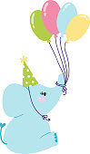 Baby elephant birthday vector illustration.