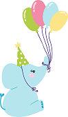 Baby elephant birthday vector illustration.