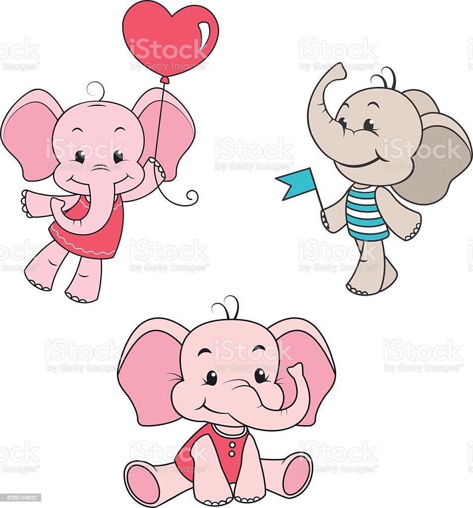 baby elephant cartoon characters set stock vector art 638244632