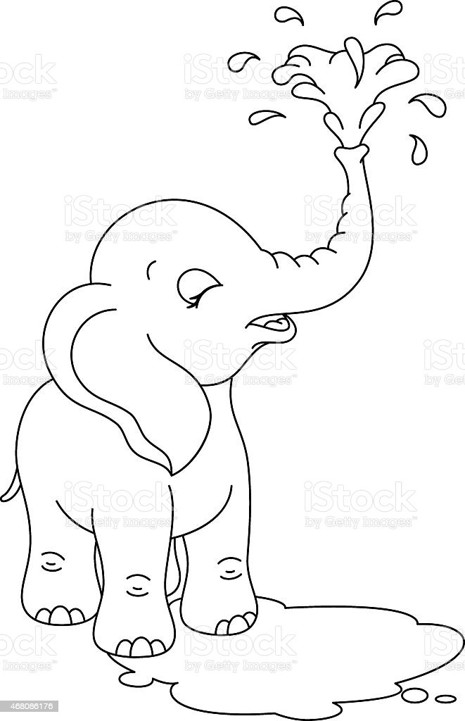 Baby Elephant Coloring Page Stock Illustration - Download ...