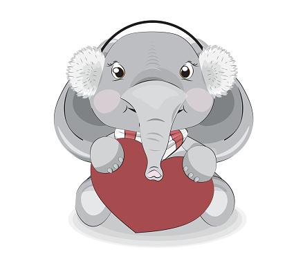 baby elephant girl in headphones and heart