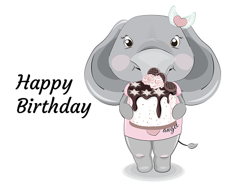 baby elephant girl with cake
