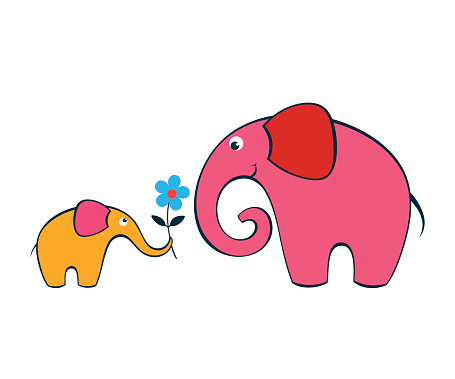Baby elephant gives a flower to its mother.