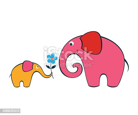 Cartoon baby elephant gives a flower to its mother.