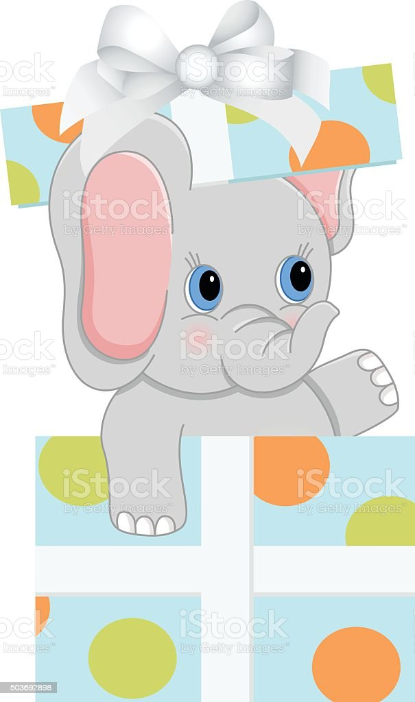 Baby Elephant In Birthday Gift Box Stock Vector Art More Images Of