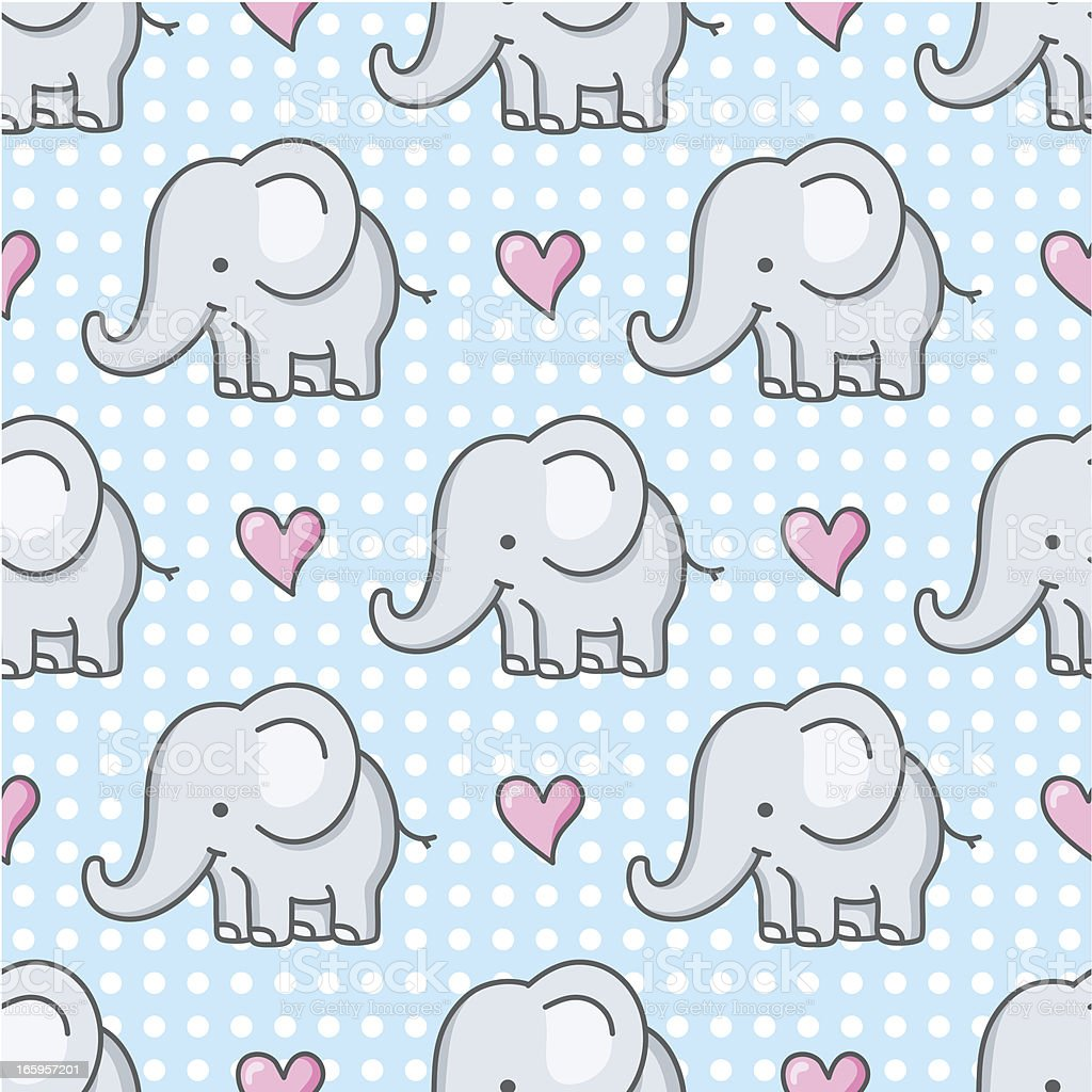 Baby Elephant Seamless Pattern Cartoon Stock Vector Art ...